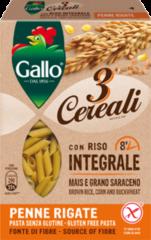 RISO GALLO SpA Riso Gallo Penne Rigate 3 CerealiPasta Senza Glutine 250g