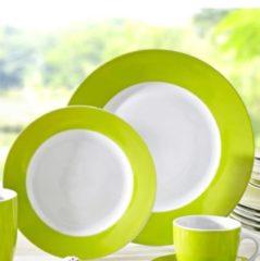 12tlg. Tafelservice. 'Vario grün' Van Well weiß/grün