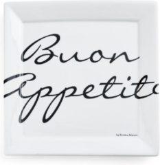 Gebroken-witte Riviera Maison Rivièra Maison Buon Appetito Square Plate - Dinerbord - 26 x 26 cm - Wit