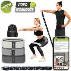 Licht-grijze Positive Things - Resistance Bands set van 4 - Full body fitness elastieken - Bootybands - Weerstandsband