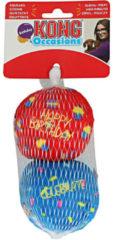 Kong Birthday Ballen - Hondenspeelgoed - Rood Blauw Medium