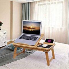 Naturelkleurige SONGMICS Opvouwbare laptoptafel voor bank of bed, nachtkastje met penhouder voor mobiele telefoon en lade, verstelbare hellingshoek, notebooktafel van bamboe, 55 x 23 x 35 cm (B x H x D) LLD006