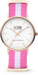 CO88 Collection Watches 8CW 10026 Horloge - Nato Band - Ø 36 mm - Roze / Wit