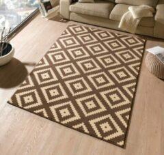 Hanse Home Modern vloerkleed ruiten Diamond - donkerbruin/beige 120x170 cm