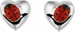 Rode Huiscollectie TFT Oorknoppen Hart Lieveheersbeestje Zilver Gerhodineerd Glanzend 3 mm x 4 mm