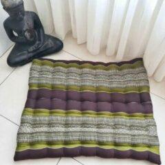 DeSfeerbrenger Zabuton – Meditatiemat – Zitkussen - Thais kussen/mat – Extra groot - Kapokvulling – 70x70cm - Groen/bruin