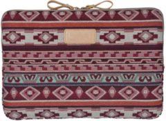 Rode Lisen – Laptop Sleeve tot 13 inch – 34,5 x 23,5 x 1,5 cm - Bohemian Style – Rood/Roze