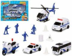 Blauwe Carkids Speelset 13-delig Politievoertuigen met Accessoires Politieauto