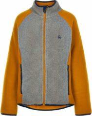 Oranje Color Kids - Fleece jas voor kinderen - Colorblock - Grijs/Honing - maat 104cm