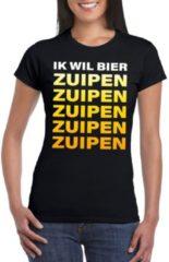 Shoppartners Oktoberfest - Ik wil bier zuipen tekst t-shirt zwart dames M