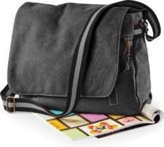 Quadra Canvas schoudertas zwart 14 liter - Vintage schoudertassen/documententassen - Tassen voor dames/heren/volwassenen