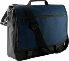 Grijze Kimood Polyester schoudertas donkerblauw/zwart 14 liter - Schoudertassen/documententassen - Tassen voor dames/heren/volwassenen