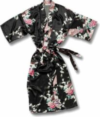 TA-HWA Kimono met Pauw Motief Zwart Dames Nachtmode kimono L