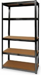 LifeGoods Stellingkast - 5 Legplanken - 175kg per Plank - 90x40x180 cm - Metaal / MDF - Zwart