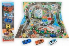 Blauwe Jonotoys Verkeerskleed | Speelmat | 3 Auto's | Dobbelsteen | 80x70 cm | 7cm die-cast auto's