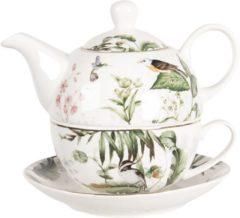 Clayre & Eef Tea for One TRBTEFO 15*16*14cm / 0,46L - Meerkleurig Porselein Theepot set Theeset Theepot met Kopje