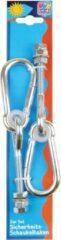 Merkloos / Sans marque 2x Schommelhaken / beveiligingshaken met schroefdraad en karabijnhaak - 20 cm - houtbevestiging - voor ophangen en bevestigen van schommels / voorwerpen - schommelhaken / karabijnhaken