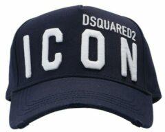 Donkerblauwe Dsquared2 Icon pet met logoborduring