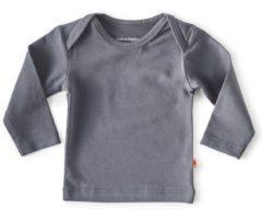 Donkergrijze Little Label - baby - T-shirt - antraciet - maat 50 - bio-katoen