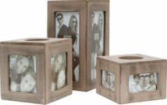 Deknudt Frames S67TQ7 E6 Set van 3 theelichthouders in grijs-beige