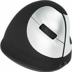 R-Go Tools Draadloze Verticale Ergonomische Muis HE Optisch voor Rechthandige gebruikers met Nano ontvanger Zwart, zilver