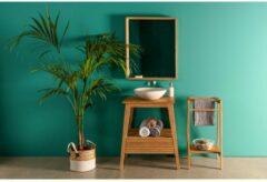 Naturelkleurige Kave Home Spiegel Kuveni massief teakhout 80 x 65 cm