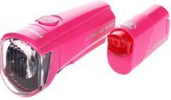 Trelock I-Go / Reego Verlichtingset Batterijen - Roze