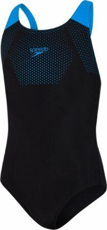 Afbeelding van Blauwe Speedo Junior Tech Placement Muscleback Sportbadpak Meisjes - Black/Blue - Maat 152