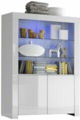 Pesaro Mobilia Vitrinekast Malifi 2 Deurs 170 cm hoog - Hoogglans wit