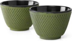Bredemeijer Asia Jing kopjes - Gietijzer - set van 2 - 80 ml - Groen