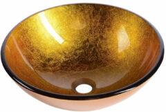 Sapho Mendoza glazen waskom 42cm goud