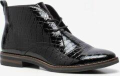 Nova dames lak veterschoenen met croco print - Zwart - Maat 40