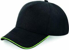 Groene Senvi Puur Katoenen Cap met gekleurde rand - Kleur Zwart/Lime