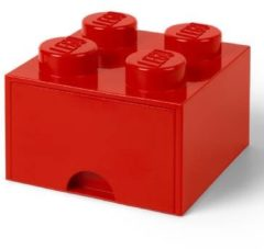 Rode LEGO Storage 4 Knob Brick - 1 Drawer (Bright Red)
