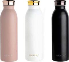 Aquachic Thermosfles Combi pakket - Drinkfles - Roze/Wit/Goud/Zwart - 500 ML