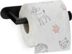 Relaxdays Toiletrolhouder zonder boren - wc rol houder zelfklevend - mat zwart
