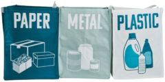 Merkloos / Sans marque Afvalzakken – set van 3 – metaal/papier/plastic