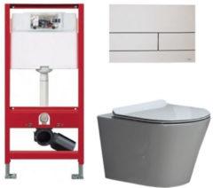 Douche Concurrent Tece Toiletset - Inbouw WC Hangtoilet wandcloset - Saturna Flatline Tece Square Mat Wit