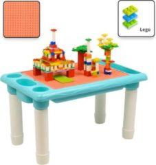 Decopatent® - Kindertafel Bouwtafel - Speeltafel met bouwplaat (geschikt voor LEGO DUPLO) en vlakke kant - 4 Vakken - Met 316 Bouwstenen