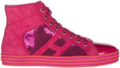 Rosa Hogan Rebel Scarpe sneakers alte donna in camoscio r141
