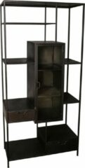 Zwarte PTMD COLLECTION PTMD Peyton Iron Black Open Cabinet