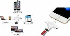 Xssive Earldom OTG Adapter All-in 1 - USB Type C - Micro USB - Lightning - Micro USB Card Reader - Wit