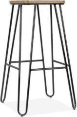 Legend Wire metalen barkruk - Met houten zitting - 75 cm hoog - Zwart