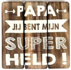 """Naturelkleurige PaCaZa Houten Tekstplank / Tekstbord 20cm """"Papa jij bent mijn Super Held"""" - Kleur Naturel"""
