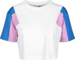 Urban Classics Ladies 3-Tone Short Oversize Tee Maglia donna bianco/rosa/blu