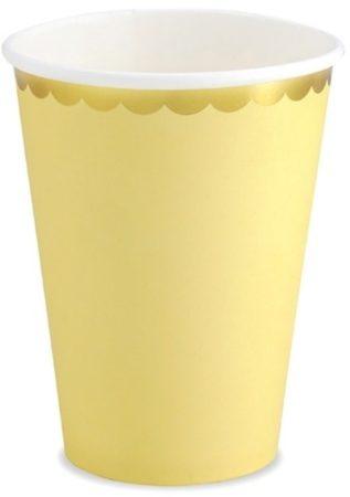 Afbeelding van Partydeco Poland Papieren Bekers - Geel met metallic gouden randje (6 stuks) - Partydeco