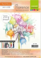 "Vaessen Creative Aquarelpapier ""Florence"" ivoor smooth 200g A4 (100 stuks)"