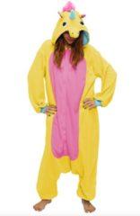 Roze KIMU Onesies KIMU Onesie eenhoorn kinder pak unicorn geel - maat 128-134 - eenhoornpak jumpsuit pyjama festival