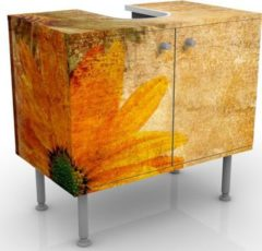PPS. Imaging Waschbeckenunterschrank - Vintage Flowermix - Blumen Badschrank Orange Gelb Braun
