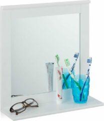Relaxdays wandspiegel met plank - badkamerspiegel - muurspiegel - woonkamer spiegel - wit